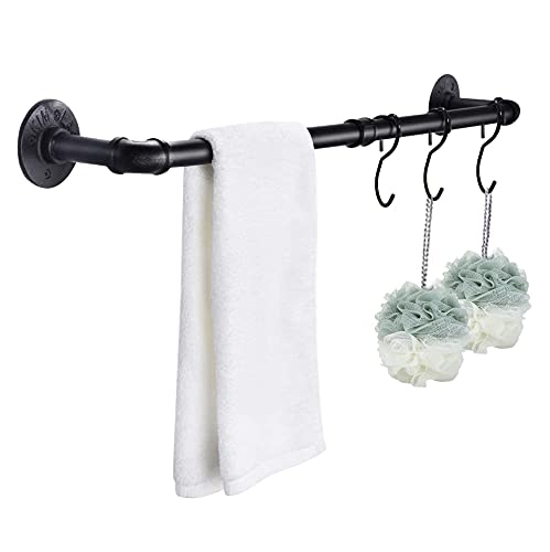 33.4 inch Industrial Pipe Towel Bar with 3 Hook, Wall Mount...