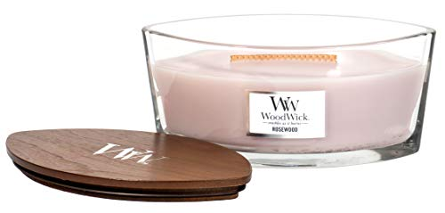 Woodwick Rosewood Scented Crackling Wooden Wick Candle in Glass Vessel
