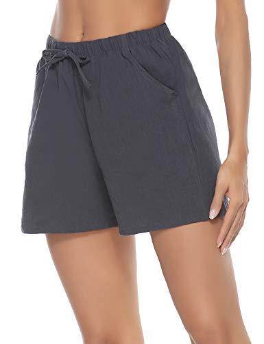 Pollara Pantalones de pijama cortos de lino para mujer, de algodón, pantalones cortos gris M