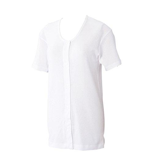 ワンタッチ肌着 プラスチックホック式3分袖前開きシャツ 2枚組 白 M 436187