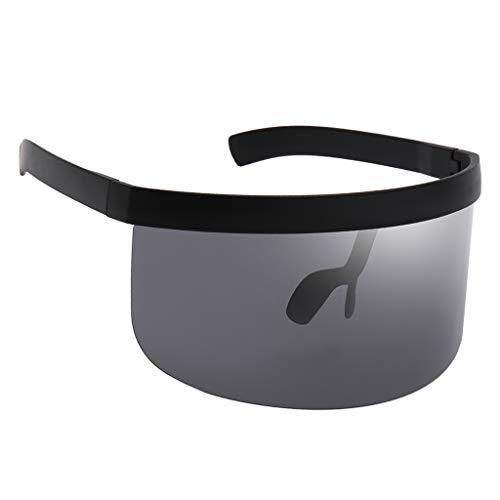 Sharplace Gafas de Sol de Visera con Escudo de Gran Tamaño Lentes con Espejo Plano - Gris