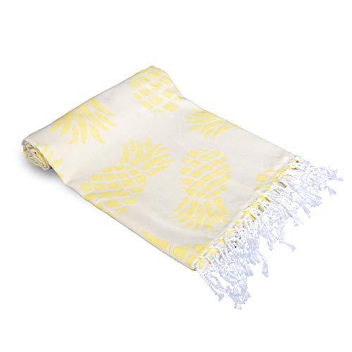 Peshtemalia-Toalla de Playa Grande Estilo Peshtemal - Original de Baño Turco Hammam. 100% Algodon & Eco Textil. Muy Ligera, Absorbente y Suav. 100x180cm (Amarillo - Piñas)