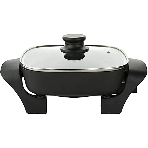 Brentwood Appliances SK46 8-Inch Nonstick Electric Skillet with Glass Lid, One Size, Black