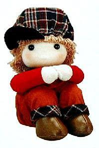 首振り人形座り人形オルゴール 服装赤「曲目:星に願いを」