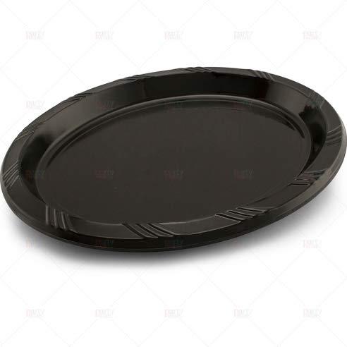 Einweg-Platten aus Kunststoff, oval, groß, Schwarz, 24 Stück