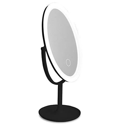 Jian E-& Miroir LED Lumière Maquillage Lampe Portable Dortoir Miroir Charge Bureau Remplir Lumière Lumière Maquillage Lampe Vanity Mirror (Couleur : Noir)