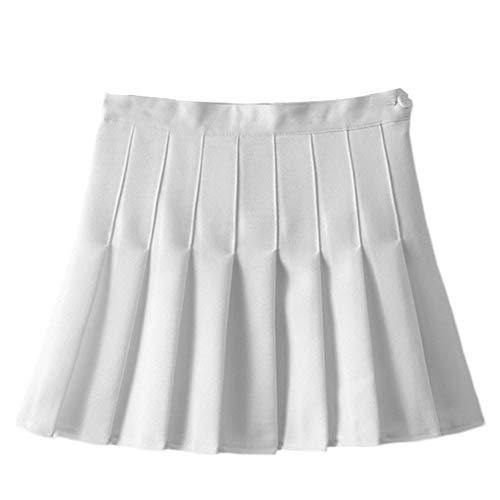 Damen Teens Faltenrock mit hohen Taille Gefalteten Minirock Schulmädchen-Stil Uniform Rock Frauen A-Line Röcke Ausgestelltes Tennis Skater Beiläufige Röcke Skorts mit Innenhose Weiß 36