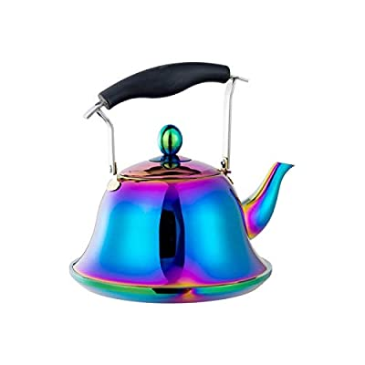 Whistling Tea Kettle with Removable Infusers for loose Leaf Tea, Stainless Steel Teakettle Tea Pot Induction StoveTop Gas, Hot Water Boling Teapots Strainer Tea Maker Steeper Rainbow 2 Quart 68 Ounce