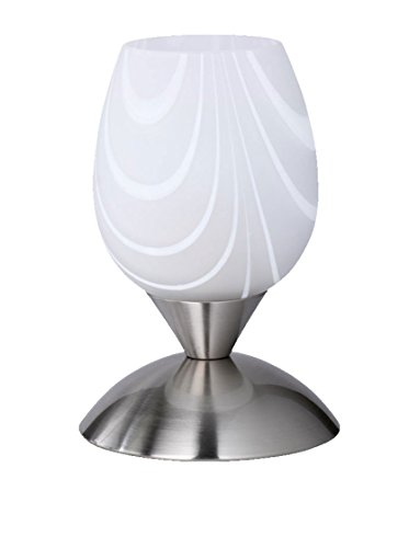 Reality Leuchten R59431001 Cup Tischleuchte, exkl. 1x E14 max. 40 Watt, Nickel matt, Glas weiß satiniert mit Streifen, (Streifen kann variieren)