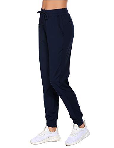 Balancora Damen Jogginghose Lang Sporthosen High Waist Trainingshose mit Taschen Schlabberhosen für Fitness Blau XL