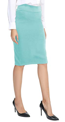 Urban CoCo Women's Elastic Waist Stretch Bodycon Midi Pencil Skirt (S, Light Blue)