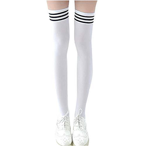 Chaussettes Hautes Femmes à Rayures, Kolylong 1 Paire Collant de Cuisse à la Mode avec Cuissardes et Chaussettes Hautes High Tights Leggings pour ado Les Filles Etudiantes