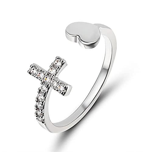 Bague en alliage d'argent pour dames de mode bague réglable en croix amour bague empilable côté ouvert bague religieuse chrétienne croix