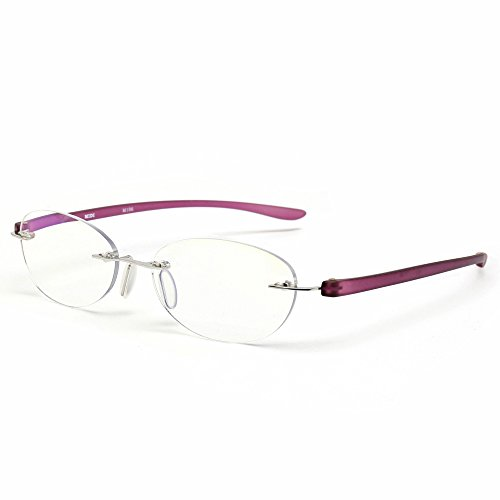 """フチなしのメガネは""""ツーポイントメガネ""""と呼ばれ、顔に馴染みやすいのがメリット。メガネをかけていてもフチが視界に入らず、見やすいというのも◎フチがない分軽量ですが、フルリムりよりも強度が弱めなのがデメリットといえます。"""
