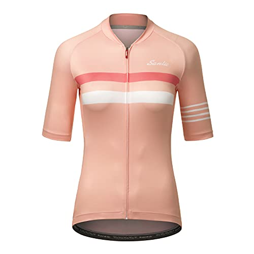 Santic Womens Cycling Jersey Short Sleeve Cycling Tops Biking Jersey Bicycle Bike Shirt Breathable Quick Dry Pink S