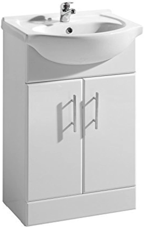650mm Bathroom Vanity Unit White Gloss with Basin.