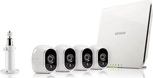 Arlo VMS3430-100EUS Smart Caméra de Surveillance - Pack de 4 - Kit de sécurité 100% Sans Fil, HD, Vision Nocturne, Etanche Intérieur/Extérieur, Fixation Aimantée, Blanc