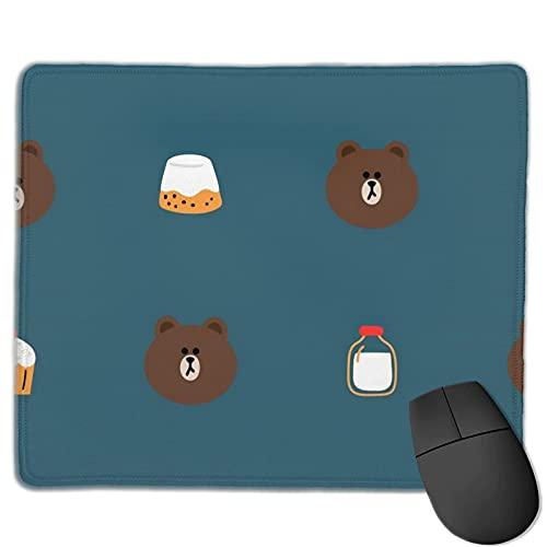 DJNGN Alfombrilla de ratón de dibujos animados de oso pardo, accesorios de decoración de oficina personalizados para ordenador, alfombrilla de ratón duradera de goma antideslizante para ordenador port