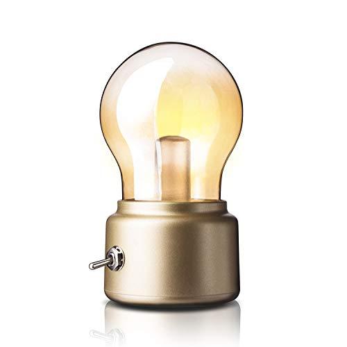 Singeru - Mini lámpara de mesa LED vintage, USB, con batería, diseño retro, funciona con pilas, con cable de carga, color dorado