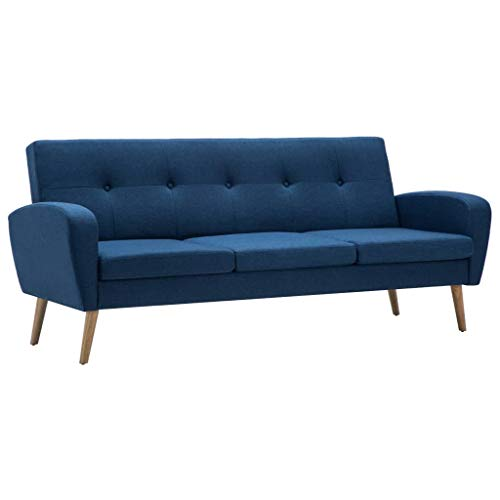vidaXL Sofa 3-Sitzer Stoff Blau Polstersofa Couch Stoffsofa Designersofa