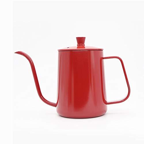 600Mlステンレス鋼長く狭い注ぎ口コーヒーポット断熱グースネック注ぎ口ドリップコーヒーケトルふた付きホームキッチンコーヒーショップ,赤