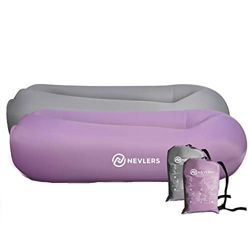 Nevlers Inflatable Loungers with Side Pockets and Matching Travel Bag - 2 Pack - Lavender & Gray - Waterproof and Portable - Great and Easy to Take to The Beach, Park, Pool, and as Camping Accessories