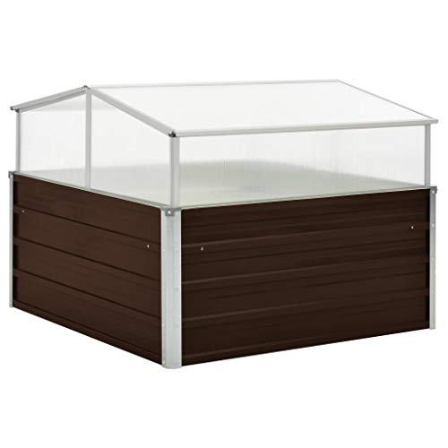 Tidyard Invernadero de Acero galvanizado marrón,Carpas de Invernadero 100x100x85 cm
