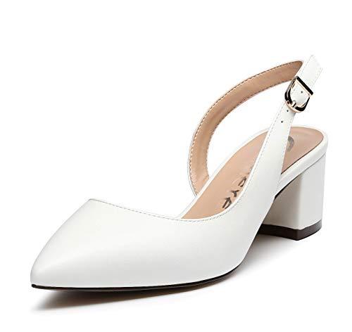 CASTAMERE Donna Tacco a Blocco Cinturino Regolabile Sandali Medio Tacco Scarpe col Tacco 5CM Bianco Pu Scarpe EU 41.5
