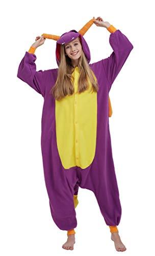 SAMGU Adult Pyjama Cosplay Tier Onesie Body Nachtwäsche Kleid Overall Animal Sleepwear Erwachsene Drache XL