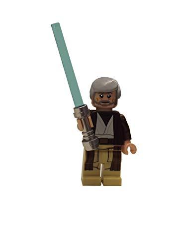 LEGO Obi Wan Kenobi con espada láser y logotipo azulejos