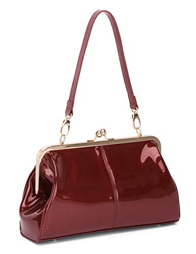 Vintage Kiss Lock Handbags Shiny Patent Leather Evening Clutch Purse Tote Bags with Two Straps (Wine Red)