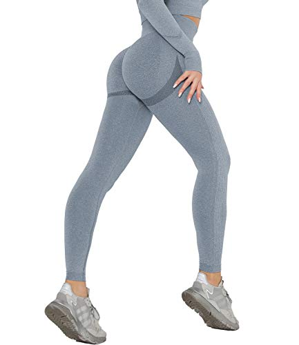 DUROFIT Leggins Donna Push up Leggings Sportivi Vita Alta Anticellulite Pantaloni Palestra per Fitness Yoga Pant Blu M