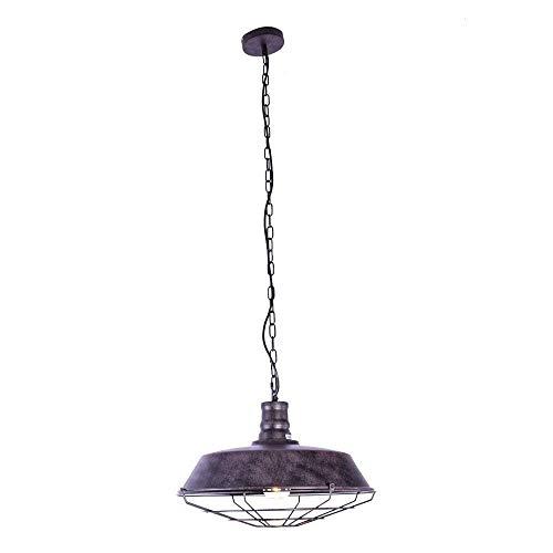 Lámpara de techo industrial ajustable con jaula náutica – lámpara colgante de 18 pulgadas con cúpula rústica/cuenco montado, lámpara de techo de bronce