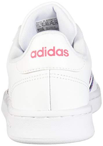 adidas Women's Grand Court Walking Shoe, White/Glow Blue/Real Pink, 8.5 Medium US
