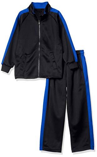[キャッチ] キッズ ジャージ 上下セット セットアップ トレーニング 長袖 ロングパンツ 部屋着 ジャージ上下 ブラック×ブルー 日本 130CM (日本サイズ130 相当)