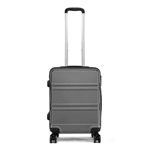 Kono 55cm Hard Shell Cabin Case 38L Carry On Hand Luggage 4 Wheeled Spinner Suitcase with TSA Lock (Grey)
