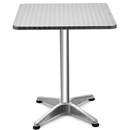Giantex 23.5' Bistro Bar Table Aluminum Tabletop Indoor-Outdoor Bistro Pub W/X-Style Base for Pub Table/Cafe Table/Office...