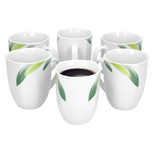 Van Well | 6er Set Kaffeebecher Siena | 300-350 ml | Jumbo-Tasse | XL-Becher kantig | Tee-Pott | Blatt-Dekor grün | edles Hotel-Porzellan | Gastro-Geschirr