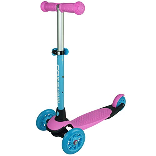 Cox Swain 3 Wheels Verstellbarer Kinderscooter YATHO, Leuchtrollen, Color: Pink