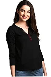 AELO Womens Cotton Black Full Sleeve Top