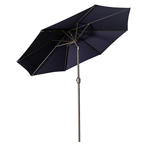 Aok Garden 9 Feet Outdoor Market Patio Umbrella with Push Button Tilt and Crank Lift Ventilation,8 Sturdy Ribs Non-Fading Sunshade,Navy Blue