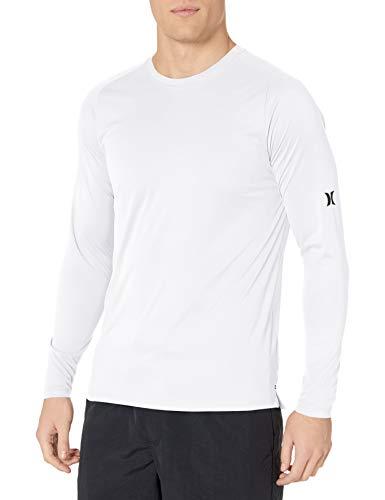 Hurley Men's Nike Dri-Fit Long Sleeve Sun Protection +50 UPF Rashguard, White, L
