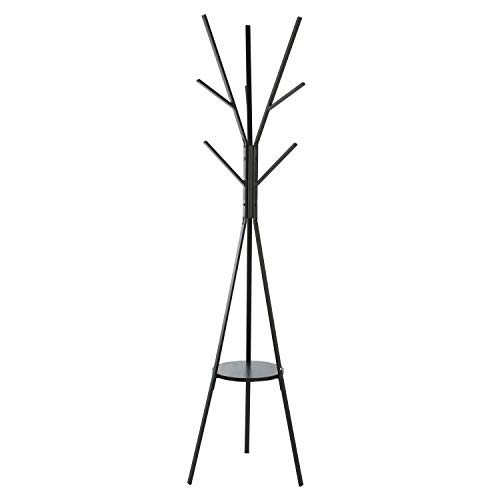 Homebi Coat Rack Hat Stand Free Standing Display Hall Tree Metal Hat Hanger Garment Storage Holder with 9 Hooks for Clothes Hats and Scarves in Black,17.72'Wx17.72'Dx70.87'H (Black)