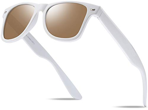 Hatstar Unisex Nerd Herren Sonnenbrille Verspiegelt | Retro Damen Sunglasses | UV400 CAT 3 CE | mit Federscharnier | incl. Gratis Brillen Putztuch (Weiss (Gläser: Braun))