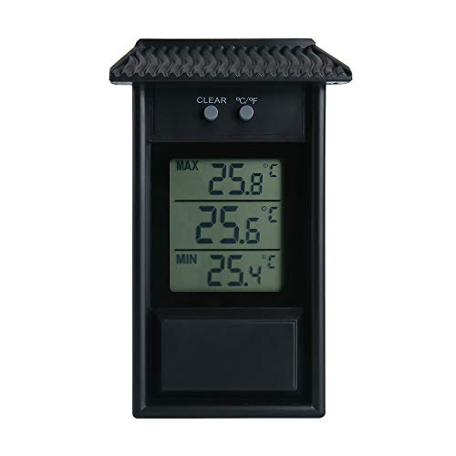 ALLOMN Termómetro de Invernadero, Termómetro Digital a Prueba de Agua, Máximo y Mínimo, Monitor de Efecto Invernadero, Resolución de 0,1 ° C, Rango de Temperatura de -20-50 ° C (Negro)