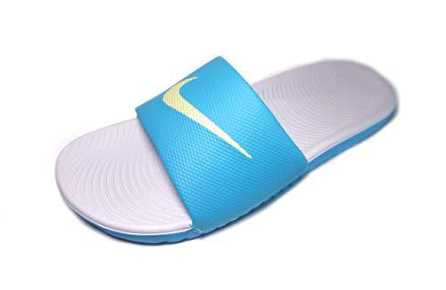 Nike Women's Kawa Slide Sandal, sky grey/limelight-Blue Fury, 9 Regular US