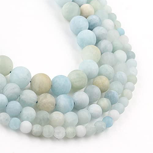 OYZK Cuentas de Piedra Natural, aguamarinas Azules Calcedonia Redondo Perlas espaciadoras para joyería Haciendo Costura Bricolaje Pulseras Accesorios (Item Diameter : 6mm 61pcs)