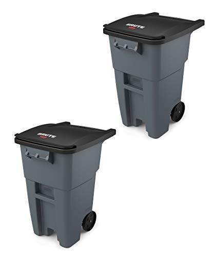 Rubbermaid Commercial Products FG9W2700GRAY Brute Rollout Heavy-Duty Wheeled Trash/Garbage Can, 50-Gallon, Gray (Pack of 2)