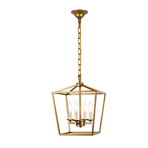 Lantern Pendant Lighting Fixture, A1A9 Iron Cage Frame Chandelier Industrial LED Ceiling Light for Foyer, Farmhouse, Dining Room, Entryway, Hallway, Stairway D12'' H16'' Chain 45'' (Antique Brass)