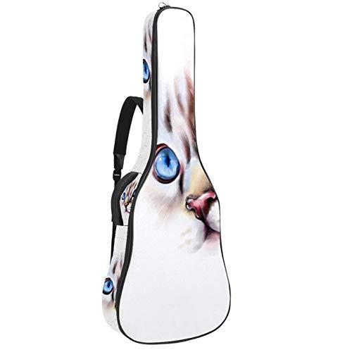 Cat Face - Bolsa acolchada para guitarra acústica de 104 cm, con 2 bolsillos, correa para guitarra